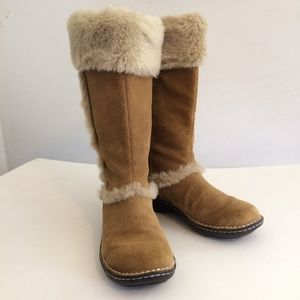 Tall Suede Tan Boots with Faux Fir, Sz 7.5 GC